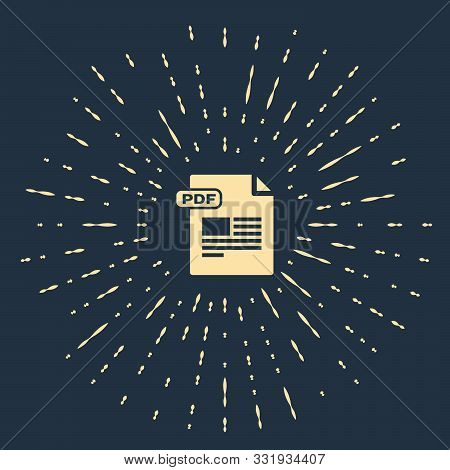 Beige Pdf File Document. Download Pdf Button Icon Isolated On Dark Blue Background. Pdf File Symbol.