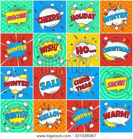 16 Comic Winter Lettering In The Speech Bubbles Comic Style Flat Design. Dynamic Pop Art Vector Illu