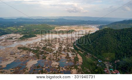 Aerial View Mekong River From A Drone Fly This Is The Effect Dam Construction