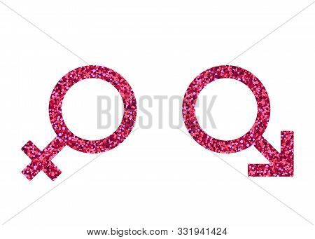 Man Woman Sign. Vector Illustration. Pink Spangle. Mars Venus