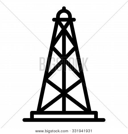 Oil Derrick Icon. Outline Oil Derrick Vector Icon For Web Design Isolated On White Background