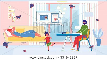 Married Man With Laptop Prepares To Exam, Receives Vocational Education And Diploma From Home. Homes