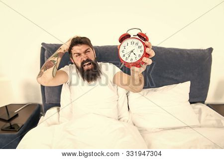 Best Alarm Clocks For People Who Hate Mornings. Man Bearded Hipster Hate Wake Up Early. Destructive