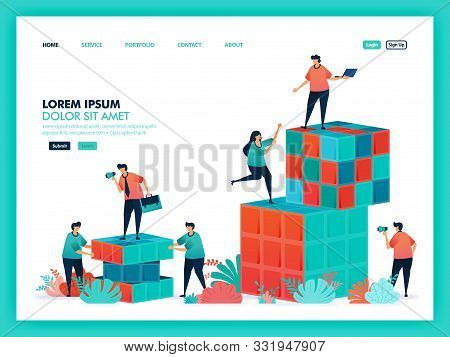 Design Vector From Rubik , Game, Teamwork. Collaboration People To Solve Problems, Looking For A Sol