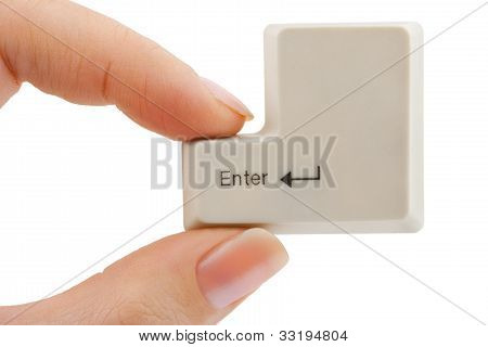 Computer Button In Hand