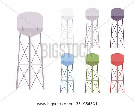 Water Tower Set. Modern High Metal Large Tank Construction, Standpipe Serving As A Hydro Reservoir A