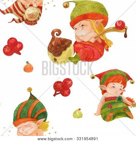 Christmas Elves Story Seamless Pattern, Baby Elves With Sweets And Crystal Ball On A White