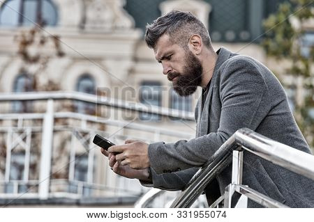 Blogging For Business. Man Blogger Outdoor. Businessman Keep Business Blog. Bearded Man Read Blog Po