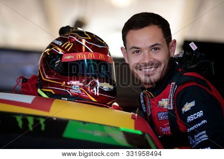 November 01, 2019 - Ft. Worth, Texas, USA: Kyle Larson (42) gets ready to practice for the AAA Texas 500 at Texas Motor Speedway in Ft. Worth, Texas.