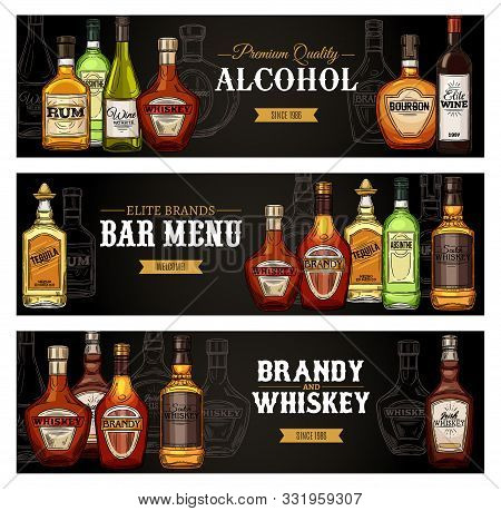 Bar Menu Banners, Alcohol Drinks Bottles Sketch. Vector Premium Quality Shots And Cocktail Alcohol D