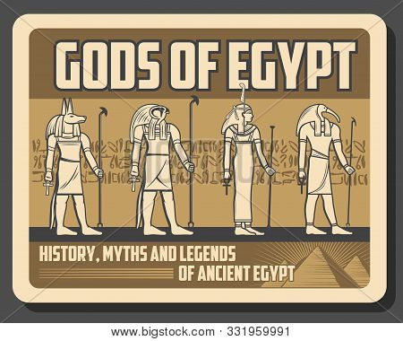 Gods Of Egypt Retro Deities Statues. Vector Ancient Egypt Religion And Culture Symbols, Ra And Anubi