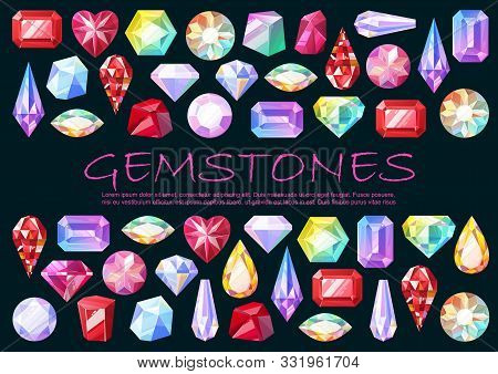 Gemstones, Precious Stones And Cut Gems, Jewelry Items. Vector Diamond And Rhinestone, Sapphire And