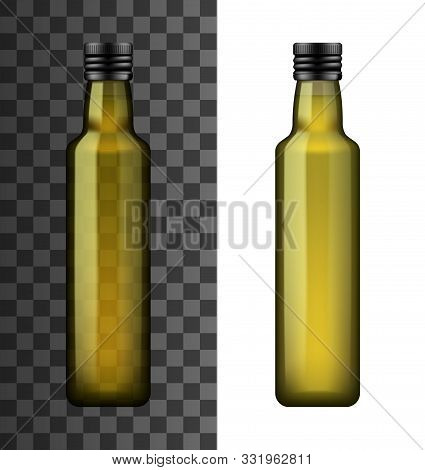 Bottle Of Extra Virgin Olive Oil Or Vinegar Isolated On White And Transparent. Vector Glass Containe