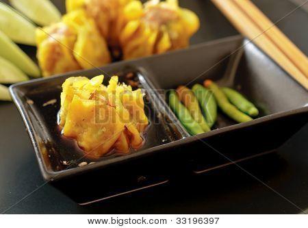 Chinese Steamed Dumpling Food Closeup