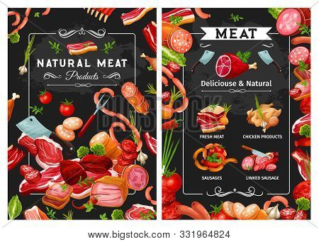 Sausages And Meat, Kitchen Cutlery And Greens. Vector Chicken Products, Ribs And Beefsteak, Butchery