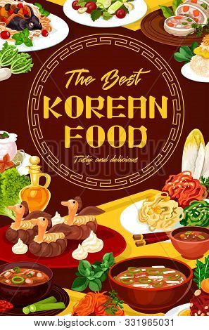 Oriental Food Of Korean Cuisine, National Dishes Of Korea. Vector Stuffed Squid, Carp With Soy Sauce