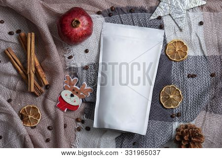Template Of Ecological Paper Bag For Storing Coffee, Tea On The Background Of Dried Fruits And Decor