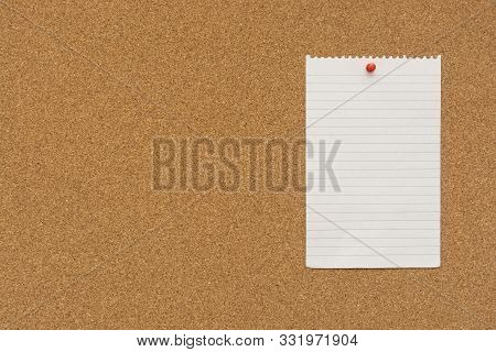 Stripped Note Paper Swith Push Pins On Cork Board. Empty Paper Pages For Notes Copy Space For Text.
