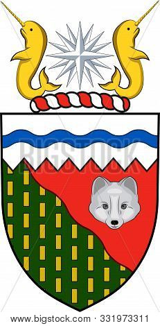 Coat of arms of Northwest Territories is a federal territory of Canada. Vector illustration poster