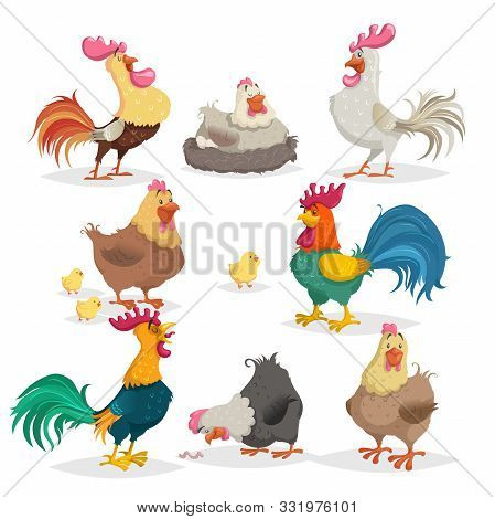 Cute Cartoon Chickens Set. Roosters And Hens In Different Poses. Little Chicks. Farm Birds And Anima