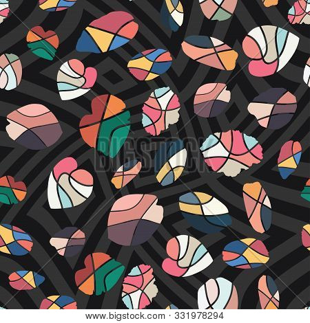 Creative Handcrafted Wallpaper Multicolor Flat Style Cut Leaves Fashion Design. Monochrome Seamless