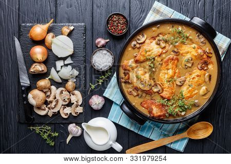 Chicken Marsala, Italian-american Dish Of Golden Pan-fried Chicken Breast Cutlets And Mushrooms In A