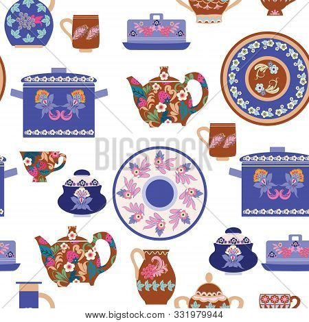 Vector Hand Drawn Seamless Pattern Of Collection Handmade Ceramics Elements Decorative Beautiful Tab