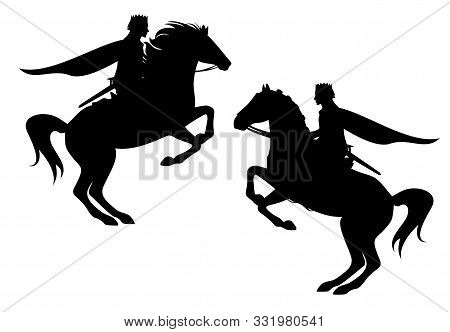 Medieval Fairy Tale Prince Riding Horse Reaing Up - Fantasy Hero Rider Black Vector Silhouette Set