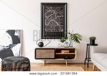 Modern Scandinavian Living Room Interior With Black Mock Up Poster Map Frame, Design Commode, Sofa,