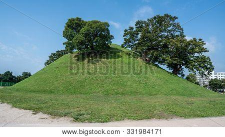 Bonghwangdae Tomb Tumulus With Trees On Top Of It In Gyeongju South Korea