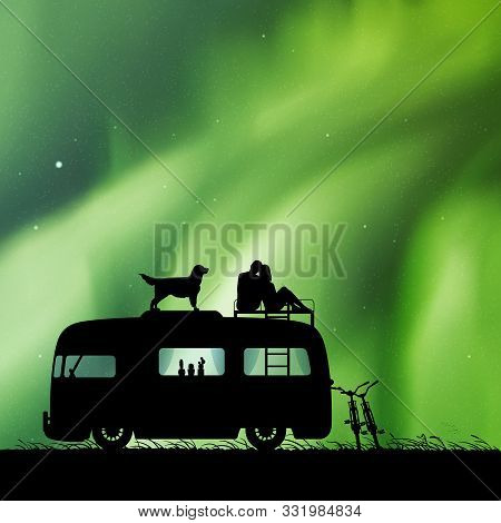 Lovers And Dog On Roof Of Retro Car At Night. Vector Illustration With Silhouette Of Couple On Camps