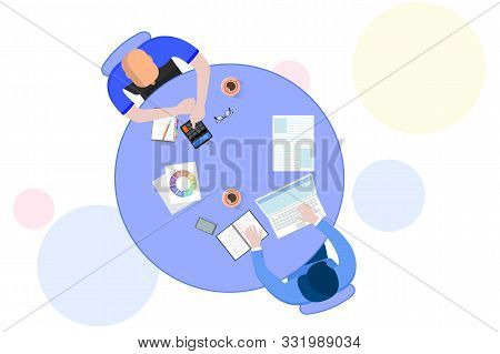 Office Teamwork Workers Business Management Meeting And Brainstorming On Table In Top View Flat Desi