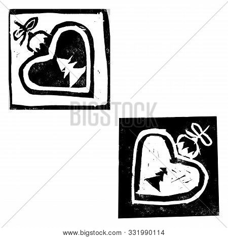 Abstract Composition With Monochrome Christmas Decorations Of Hearts Isolated On White Background. H