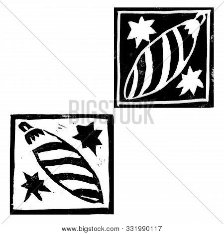 Abstract Composition With Monochrome Hristmas Decorations Of Icicles Isolated On White Background. H