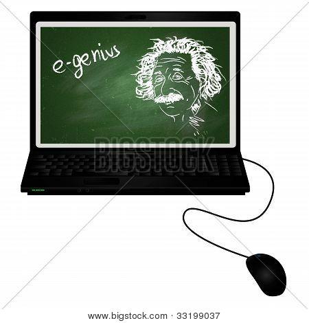 E-genius/laptop With Albert Einstein Portrait With Chalk On Chalkboard On It Screen