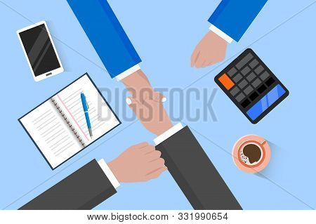 Businessman Shaking Hand Together. Business People Agreement. Eps10