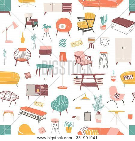 Home Furniture Hand Drawn Seamless Pattern. Contemporary Furniture Pieces. Vintage Armchair And Retr