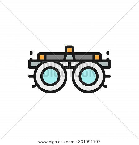Device For Selection Glasses, Lenses, Diopters Flat Color Line Icon.