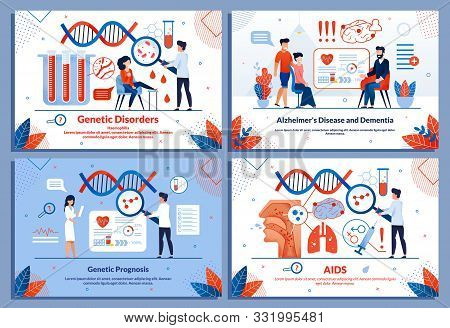 Medical Banner Set For Sickness Research And Treat. Genetic Disorders And Prognosis, Alzheimer Disea