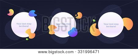 Set Of 3 Vector Abstract Elements On Dark Background.