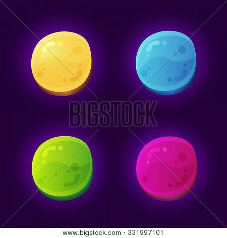 Abstract Rounded Game Gems Elements For Mobile Arcade Games.