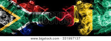 South Africa Vs Guinea, Guinean Smoky Mystic Flags Placed Side By Side. Thick Colored Silky Abstract