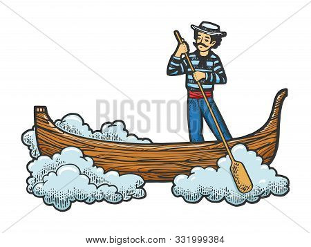 Fabulous Flying Gondola Boat Sketch Engraving Vector Illustration. T-shirt Apparel Print Design. Scr