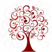 Funky coil tree with patterned leaves poster