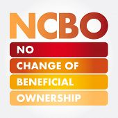 NCBO - No Change of Beneficial Ownership acronym, business concept background poster