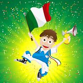 Vector - Italy Sport Fan with Flag and Horn poster