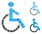 Disabled person composition of joggly elements in variable sizes and color hues, based on disabled person icon. Vector ragged elements are united into illustration. poster