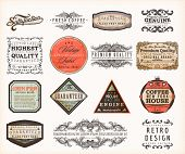 Set of Premium Quality and Guarantee Labels with retro vintage styled design, dirty and rusty texture vector poster