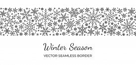 Snowflake Seamless Border Pattern. Winter Season, Merry Christmas, New Year, Happy Holiday Card Back