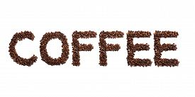 Inscription Coffee Of The English Alphabet Of Roasted Cocoa Beans On A White Isolated Background.cof